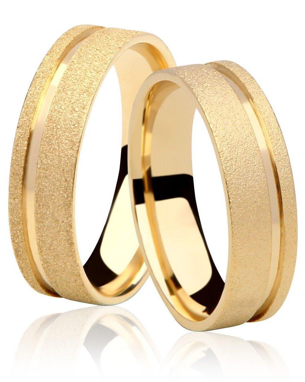 Aliança de Casamento Emotion V Ouro 18k Diamantada e Friso Polido (5mm)