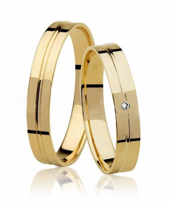 Aliança de Casamento Florença Ouro Amarelo e Diamante - Unitária (3.60mm)