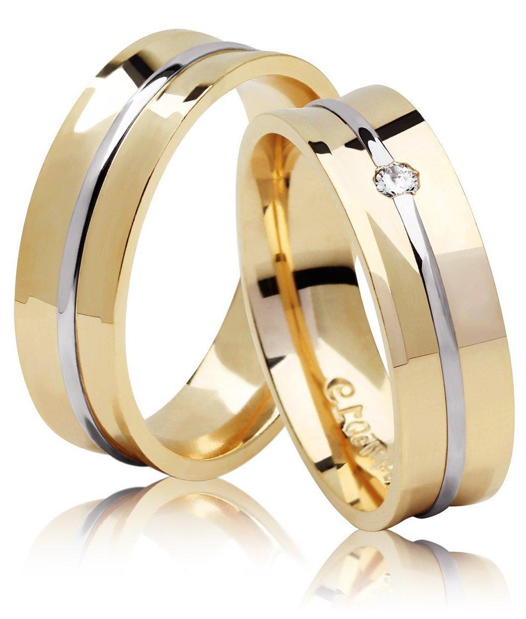 Aliança de Casamento JOE Ouro Amarelo e Branco Côncava com Diamante - Unitária (5.80mm)