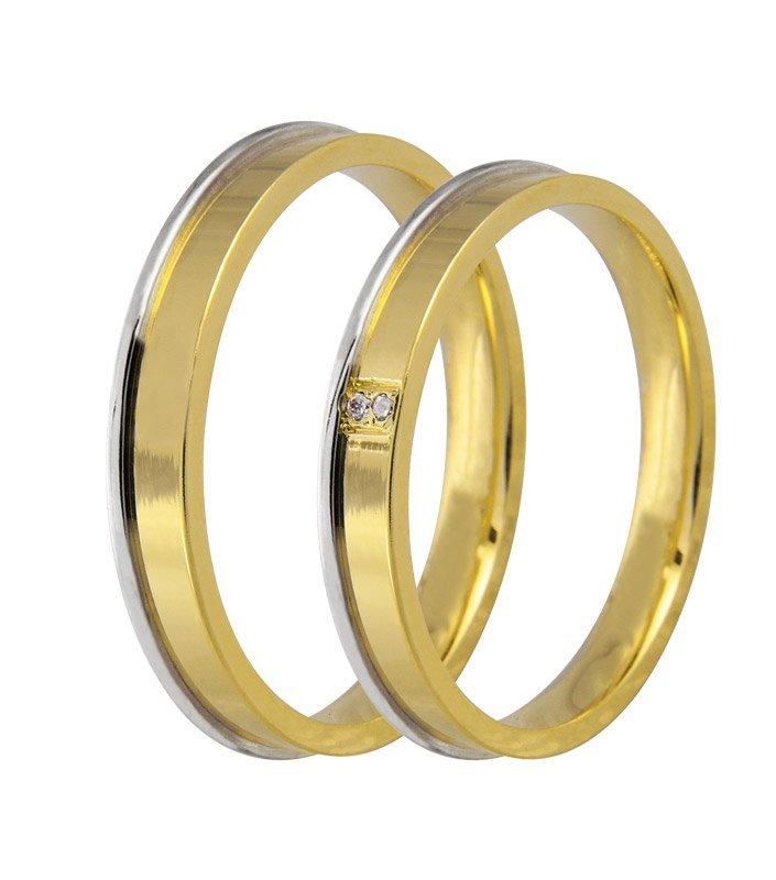 Aliança de Casamento JOE Ouro Amarelo e Branco e Diamantes - Unitária (2.90mm)