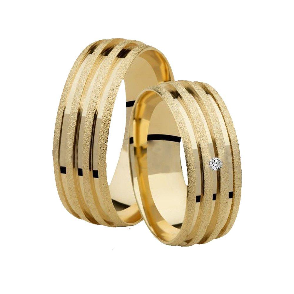 Aliança de Casamento Lovely Ouro 18k e Diamante - Unitária (6.80mm)
