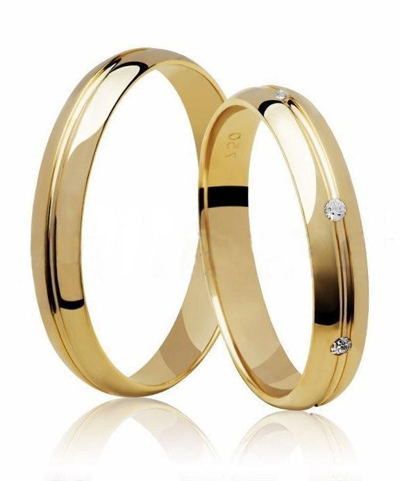 Aliança de Casamento Mon I Ouro 18k  Com Pedras  (3.45 mm)