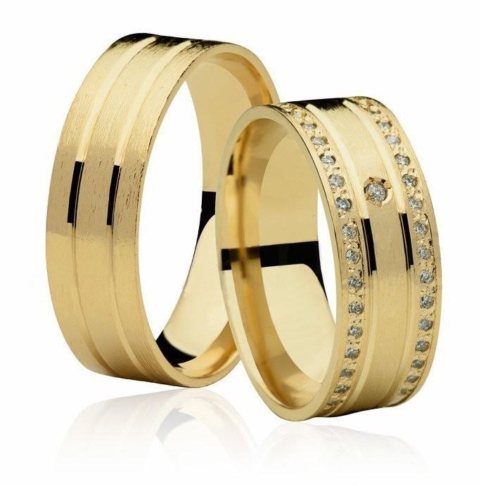 Aliança de Casamento Ouro 18k BIDEN Cravejadas em Pedras (6.60mm)