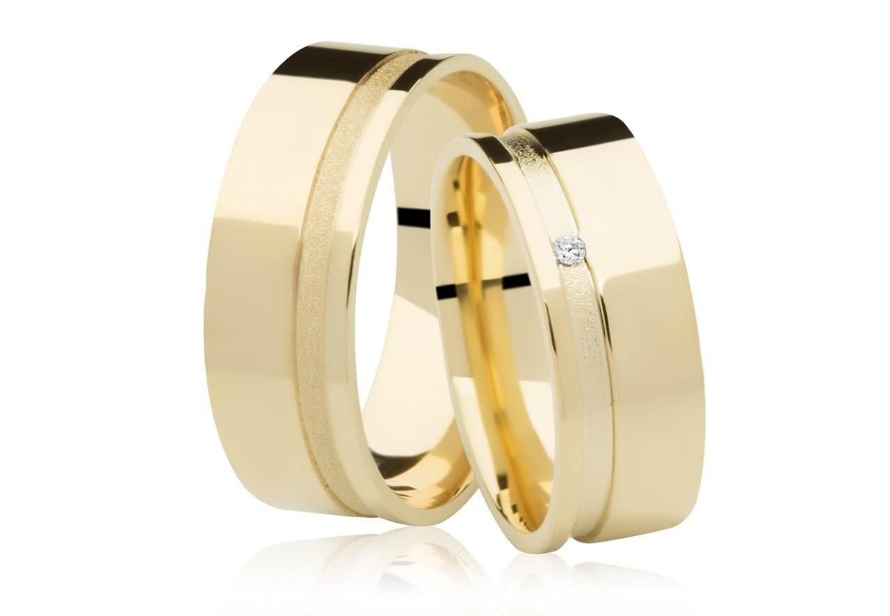 Aliança de Casamento Ouro 18k Frame Stone III com Diamante - Unitária (7mm)