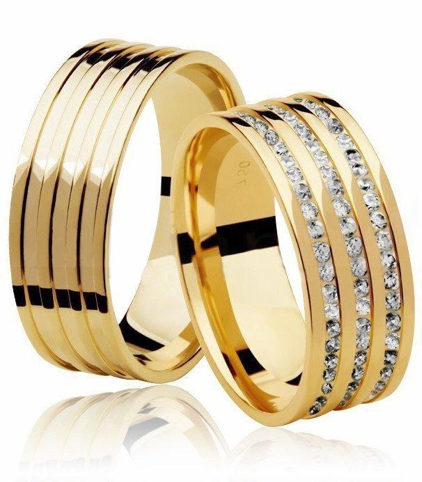Aliança de Casamento Ouro 18k Wella Quadrada Cravejada em Pedras - Unitária (7mm)
