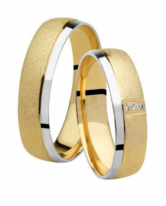 Aliança de Casamento Ouro Amarelo e Branco com Diamantes Promise (5mm)