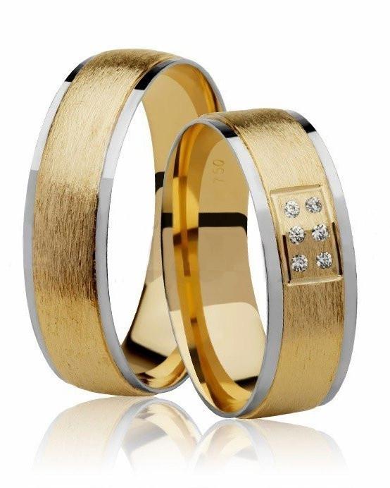 Aliança de Casamento Ouro Amarelo e Branco e 6 Pontos de Diamantes - Unitária (6mm)