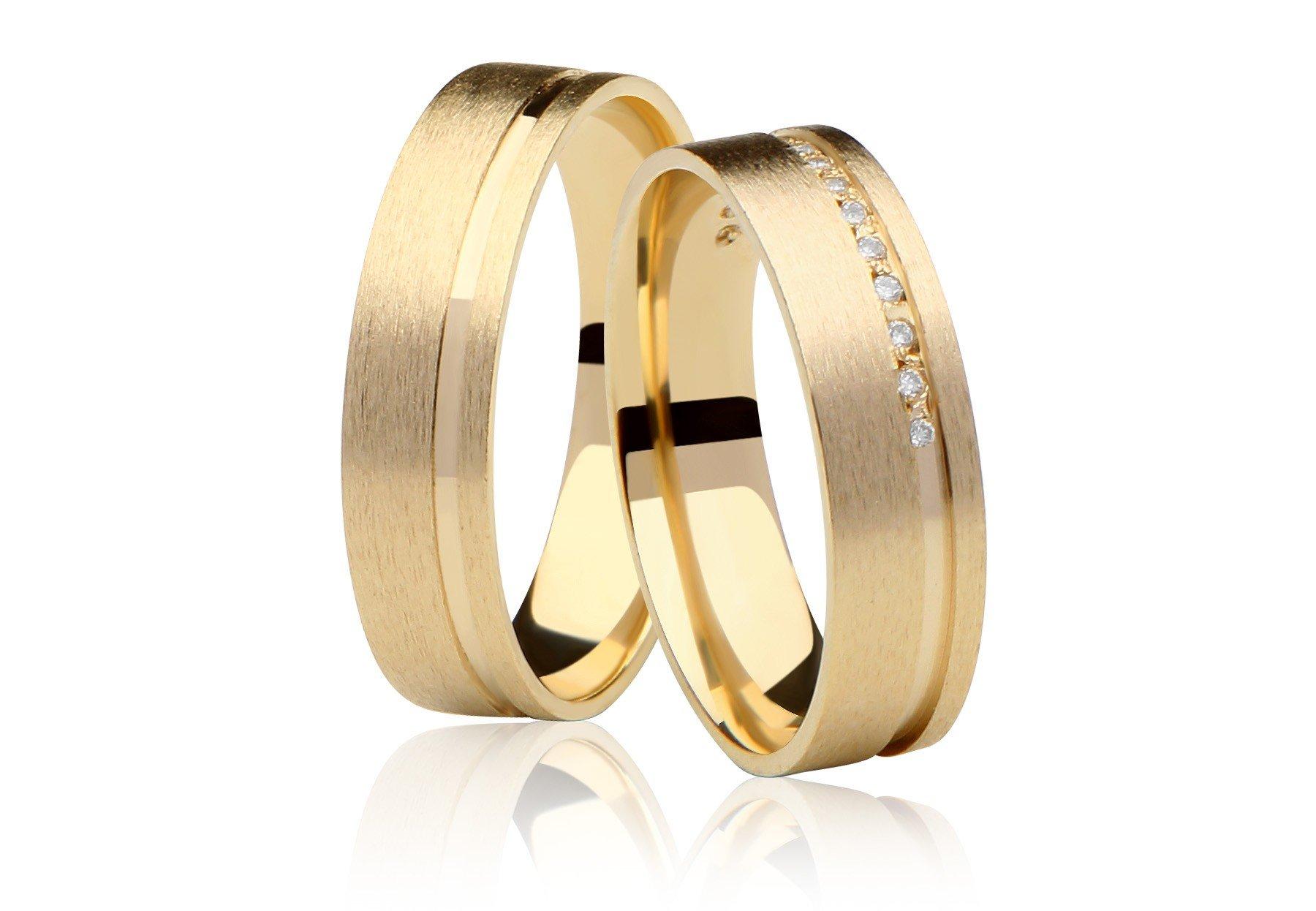 Aliança de Casamento Ouro Amarelo Fosca Love Me (5mm)