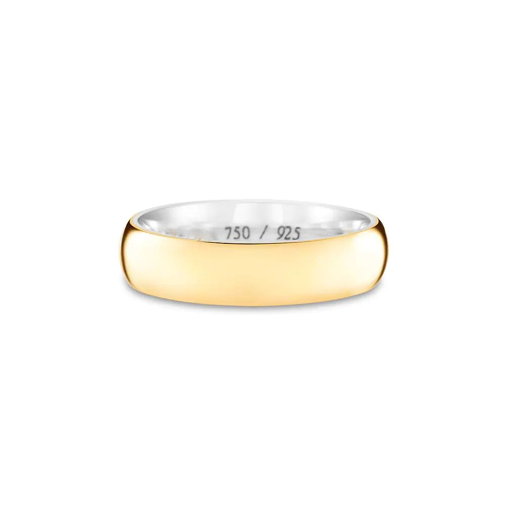 Aliança de Casamento Prata Ouro Amarelo Encapada (5mm)