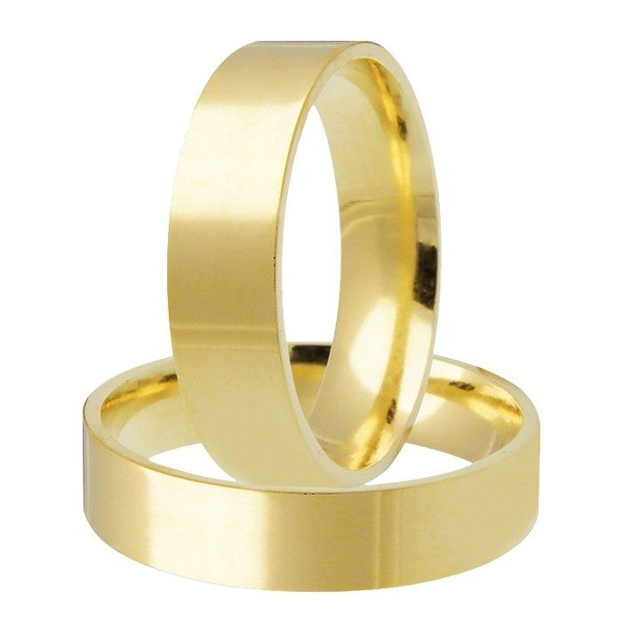Aliança de Casamento Santiny em Ouro Amarelo Reta (4.5mm)