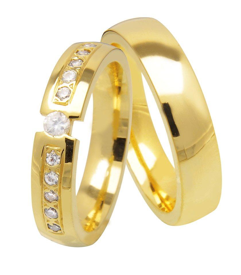 Aliança de Casamento Tension em Ouro amarelo com Pedras - Unitária (4.8mm)