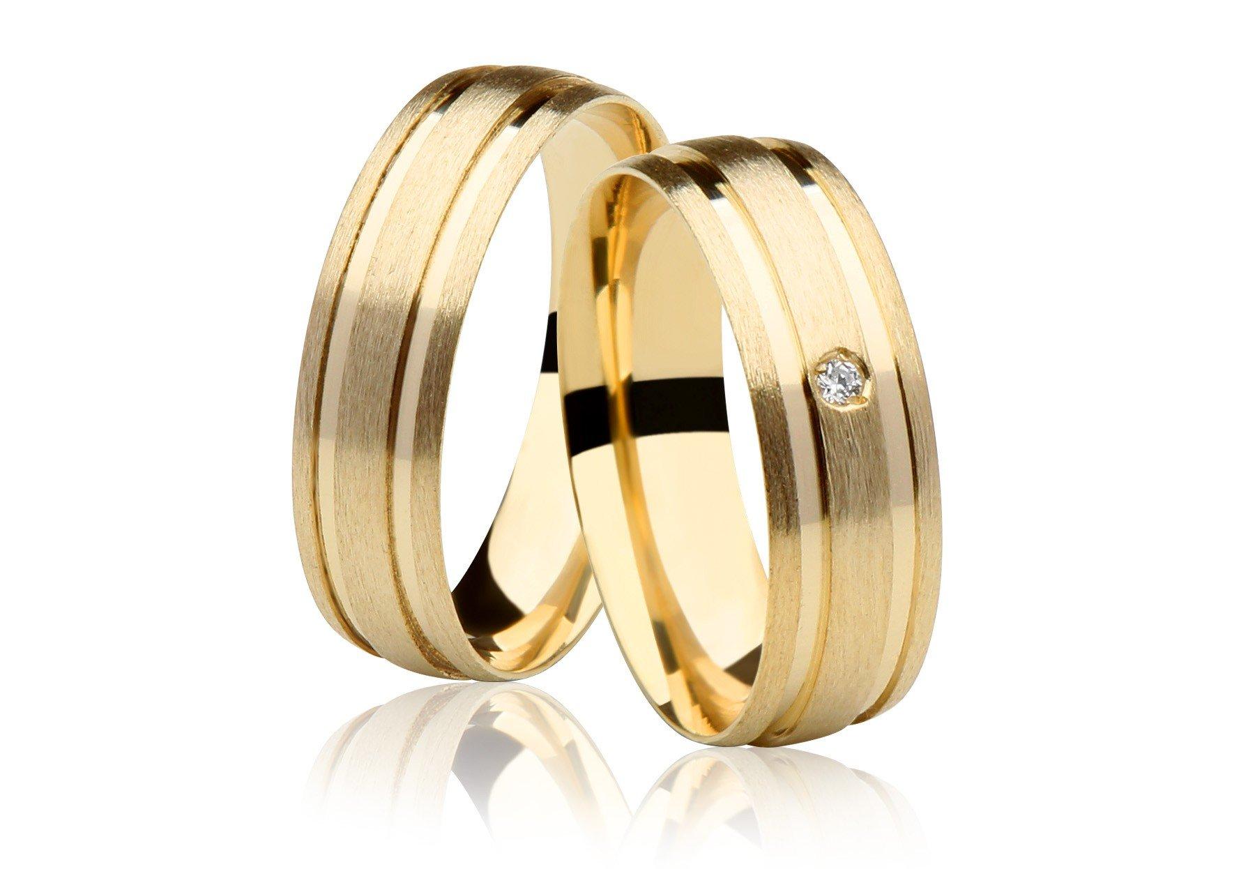 Aliança de Casamento Wish Ouro 18k Fosca e Diamante - Unitária (6mm)