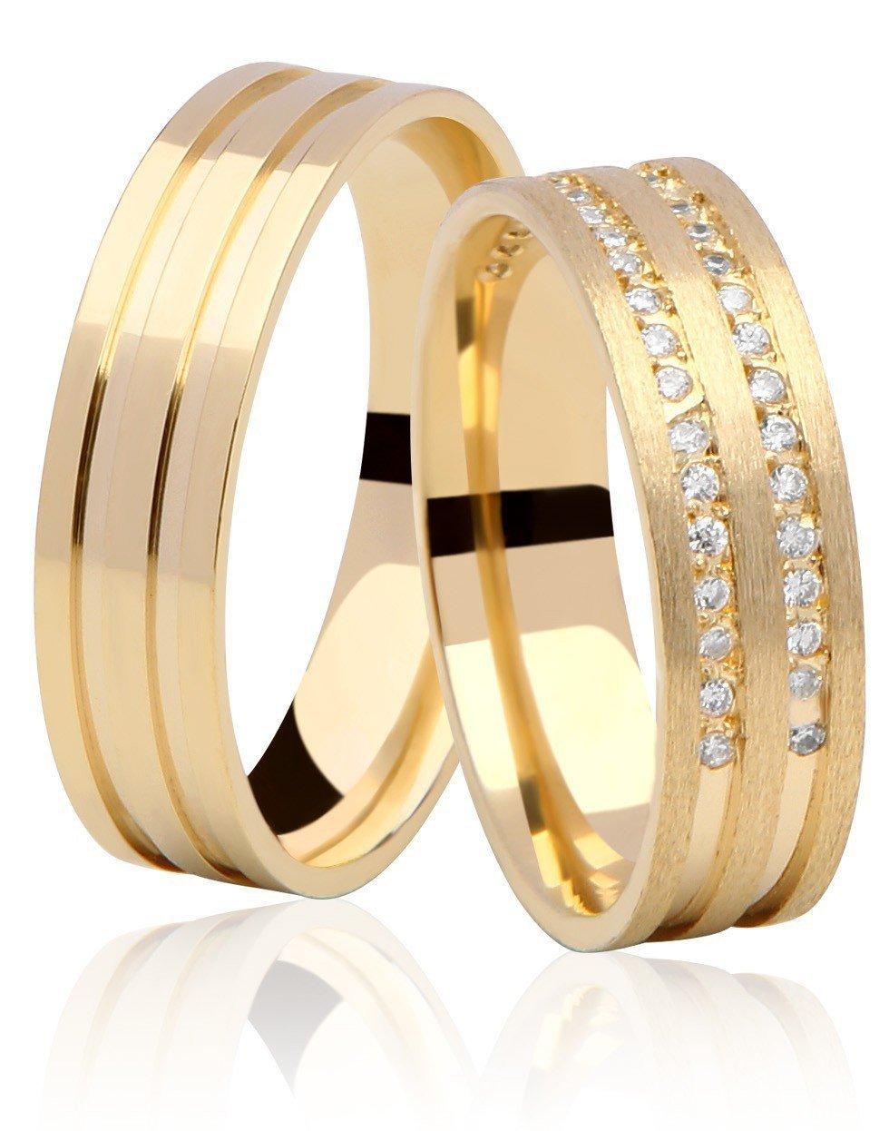 Aliança de Ouro 18k Dupla Carreira em Pedras Duo (5mm)