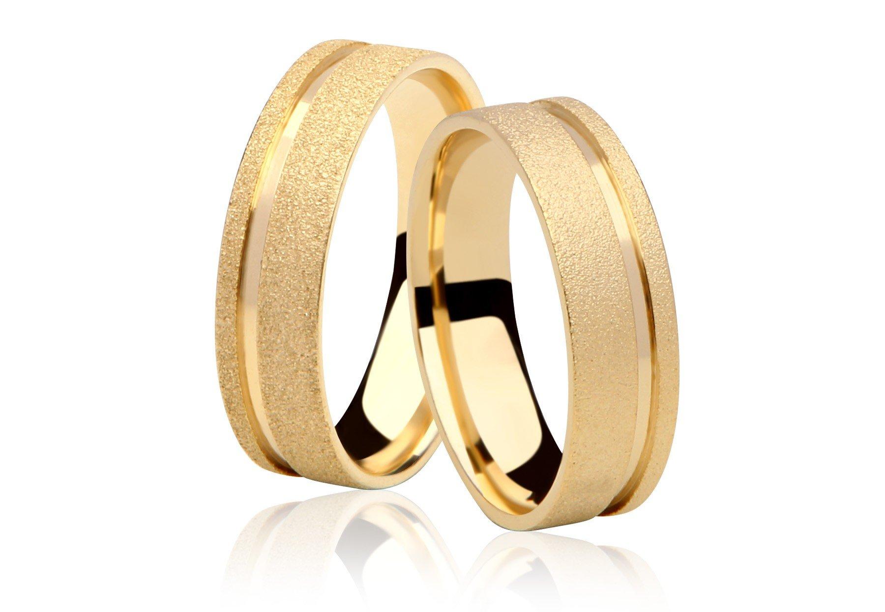 Aliança de Prata 950 Banhada a Ouro 24k Noivado ou Casamento AB7019