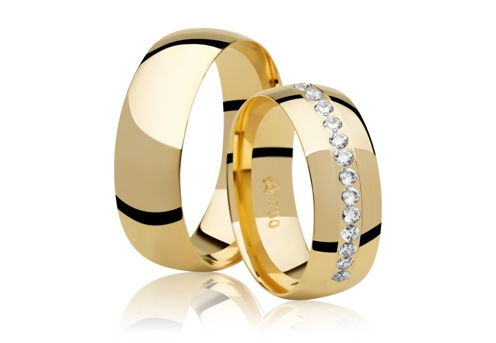 Aliança de Prata 950 Banhada a Ouro 24k Noivado ou Casamento AB7021