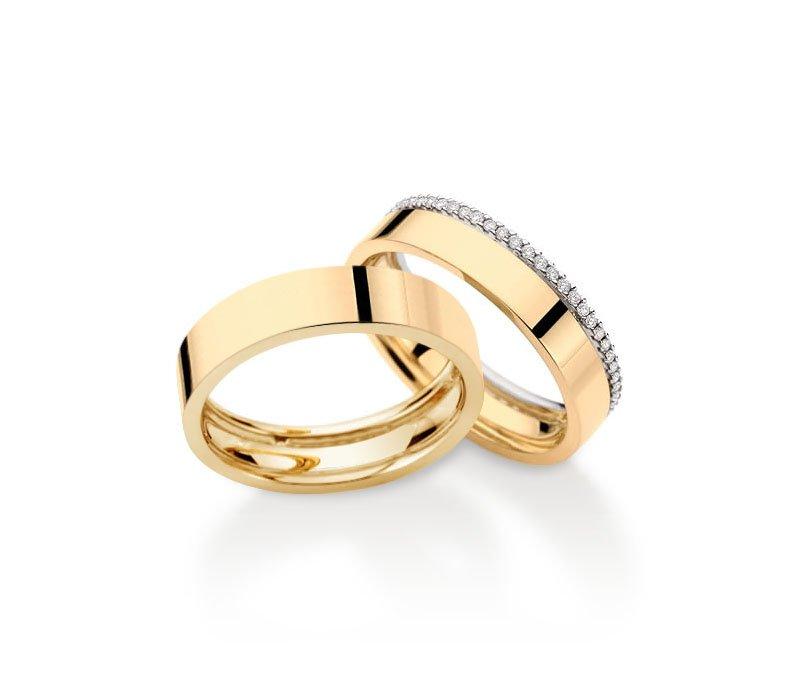 Aliança de Prata 950 Banhada a Ouro 24k Noivado ou Casamento AB7023