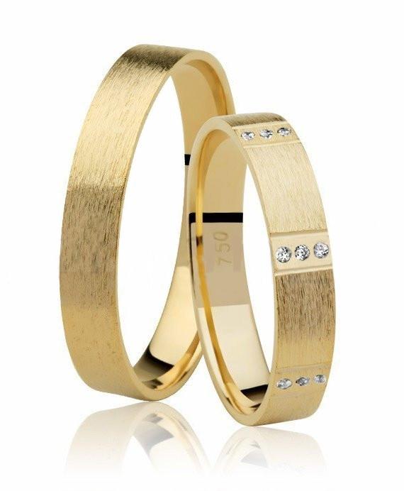 Aliança de Prata 950 Banhada a Ouro 4mm Noivado ou Casamento AB7024