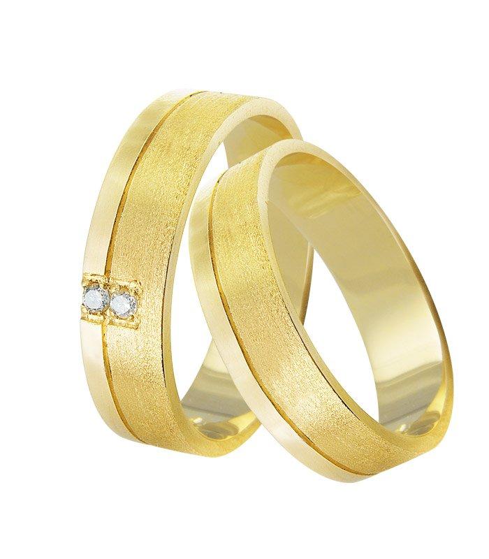 Aliança de Prata 950 Banhada a Ouro Casamento AB7081