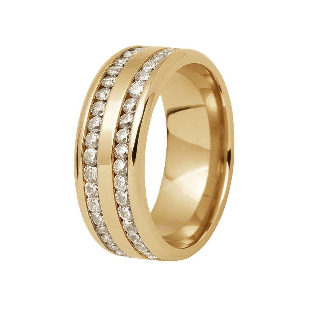 Aliança de Prata 950 Banhada a Ouro Cravejadas em Pedras Casamento AB7087