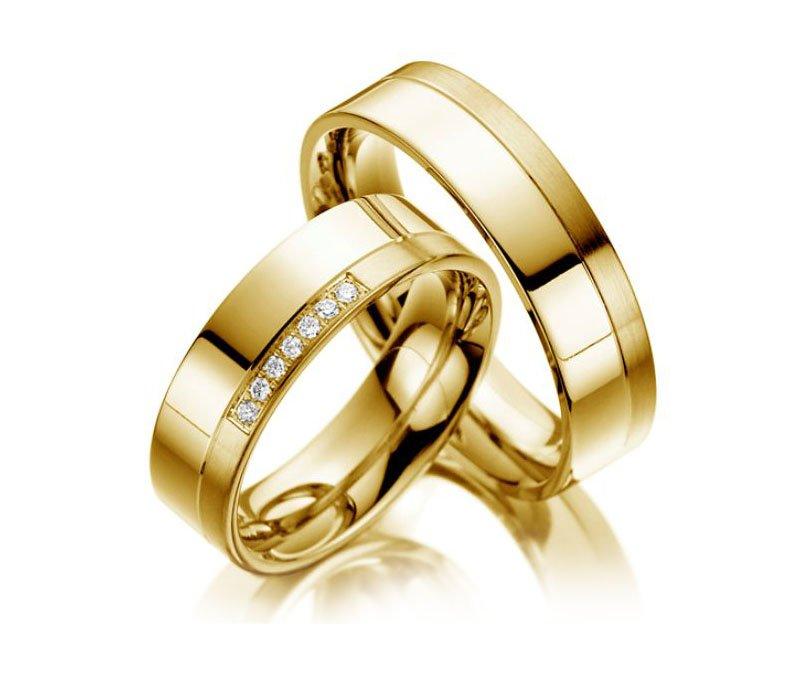 Aliança de Prata 950 Banhada a Ouro Noivado ou Casamento AB7017