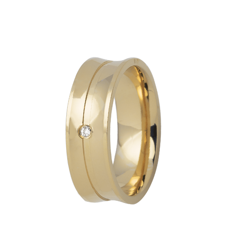 Aliança de Prata Banhada a Ouro 24k Concava Noivado ou Casamento AB7044