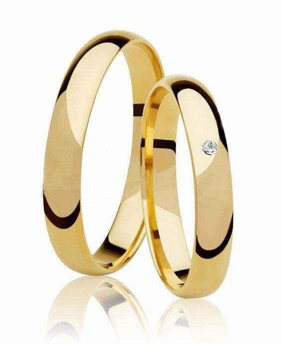Aliança de Prata Banhada a Ouro Santiny Noivado ou Casamento 3 mm  AB7022