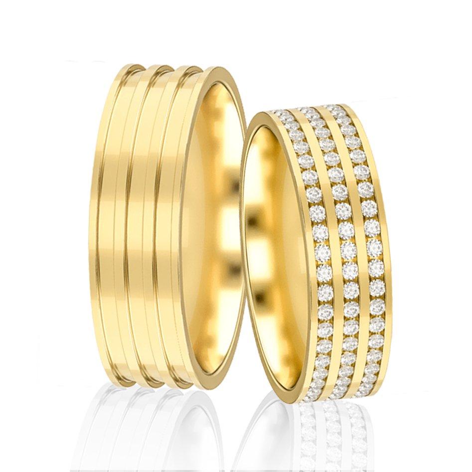 Aliança de Prata Cravejada em Pedras Banhadas a Ouro - AB7039