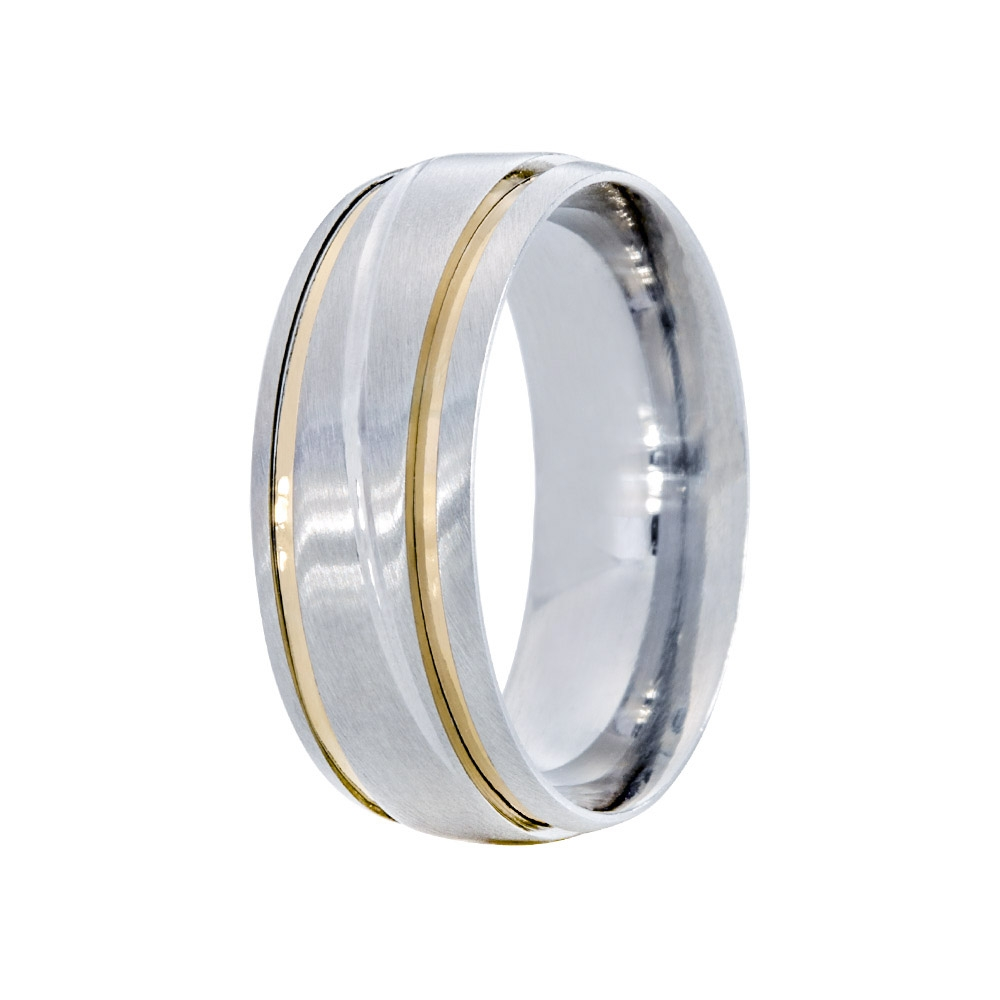 Aliança Namoro de Prata 8 mm  com Friso Horizontal 3 Marias - AP6060