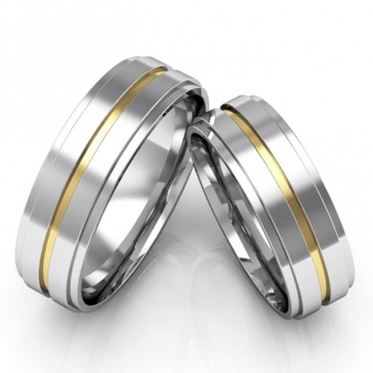 Aliança Namoro de Prata e Ouro 18k com  7 mm - AP6097
