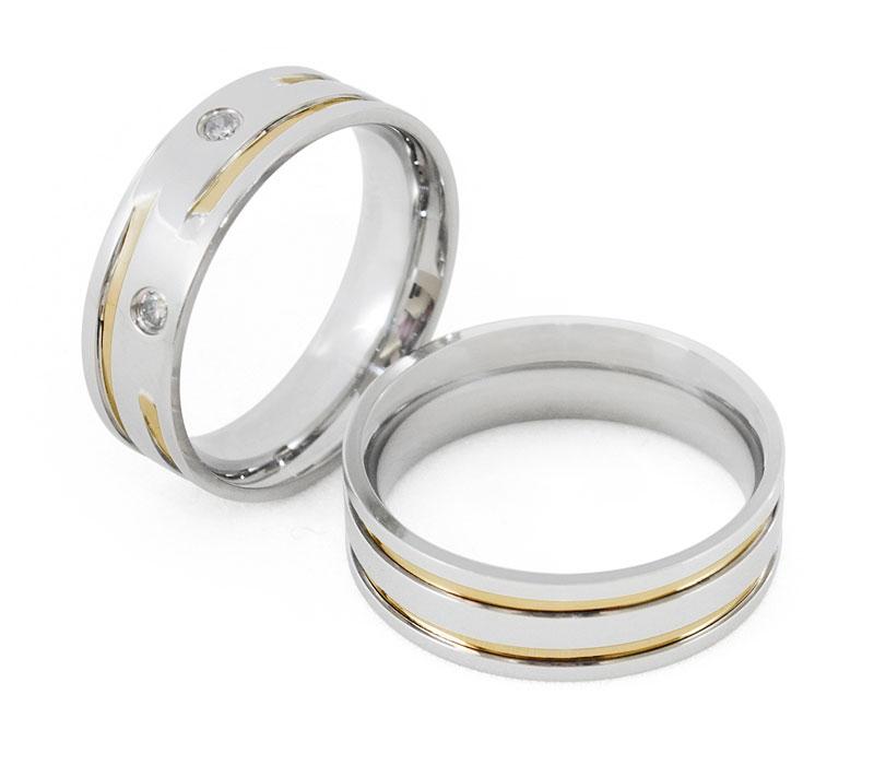 Aliança Namoro de Prata Quadrada 6 mm Filete Torcido de Ouro Silver- AP6086