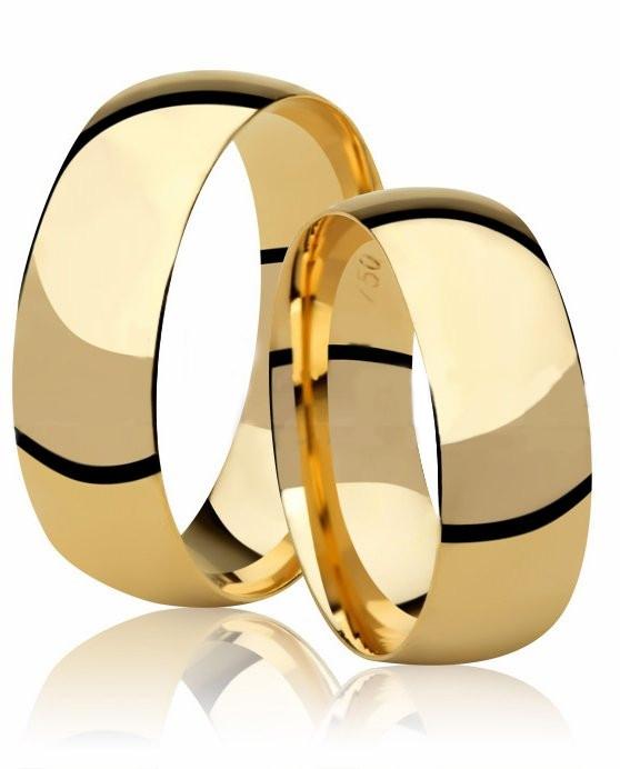 Aliança Tradicional de Prata Banhada a Ouro Noivado ou Casamento AB7007