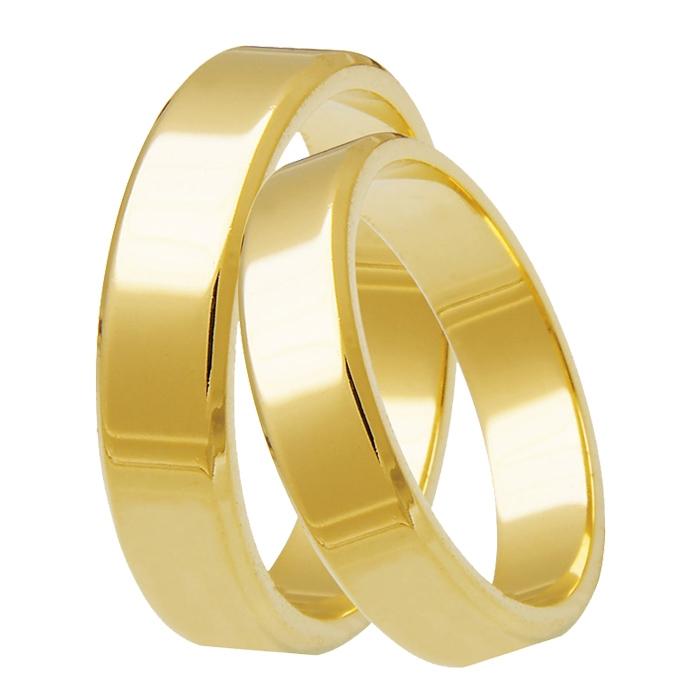 Aliança Tradicional de Prata Banhada a Ouro Noivado ou Casamento AB7093