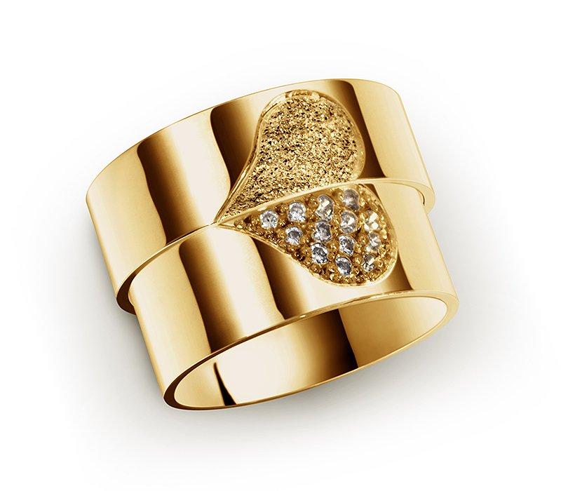 Alianças Casamento de Prata 950 Banhadas a Ouro 24k Coração Dupla Face AB7025