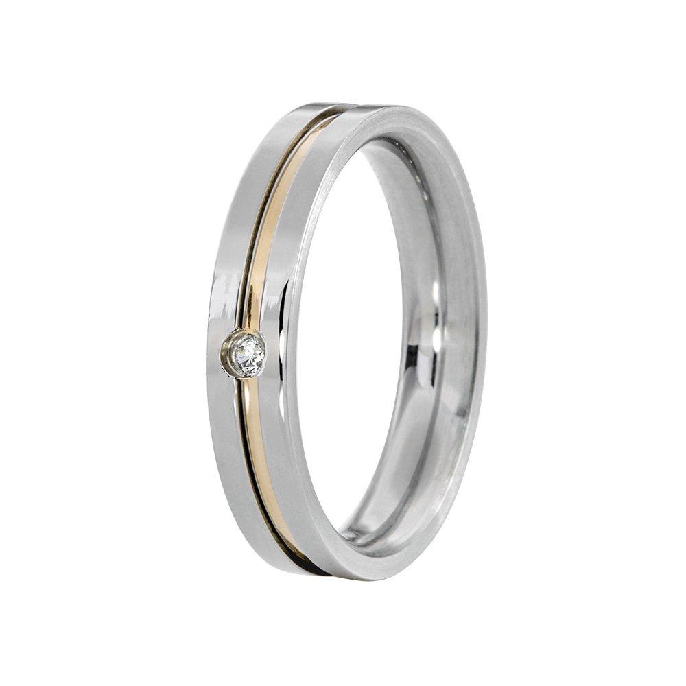 Alianças Compromisso de Aço Inox 4 mm Com Filete Central em Ouro AX096-1