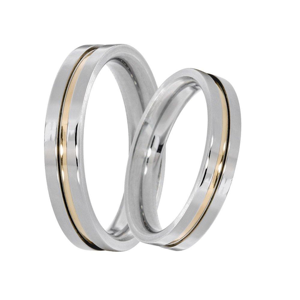 Alianças Compromisso de Aço Inox 4 mm Com Filete Central em Ouro  AX096