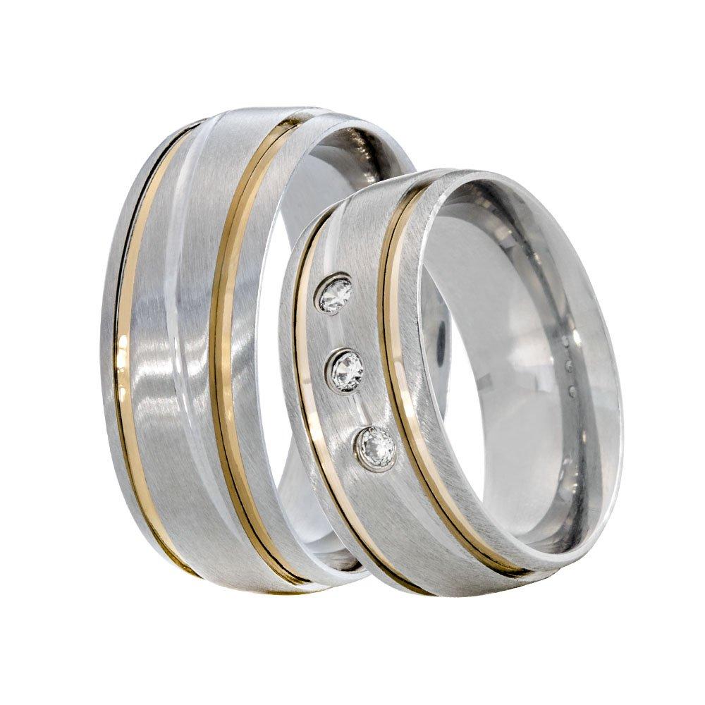 Alianças Compromisso de Aço Inox 8 mm 2 Fios Friso Horizontal 3 Marias AX520