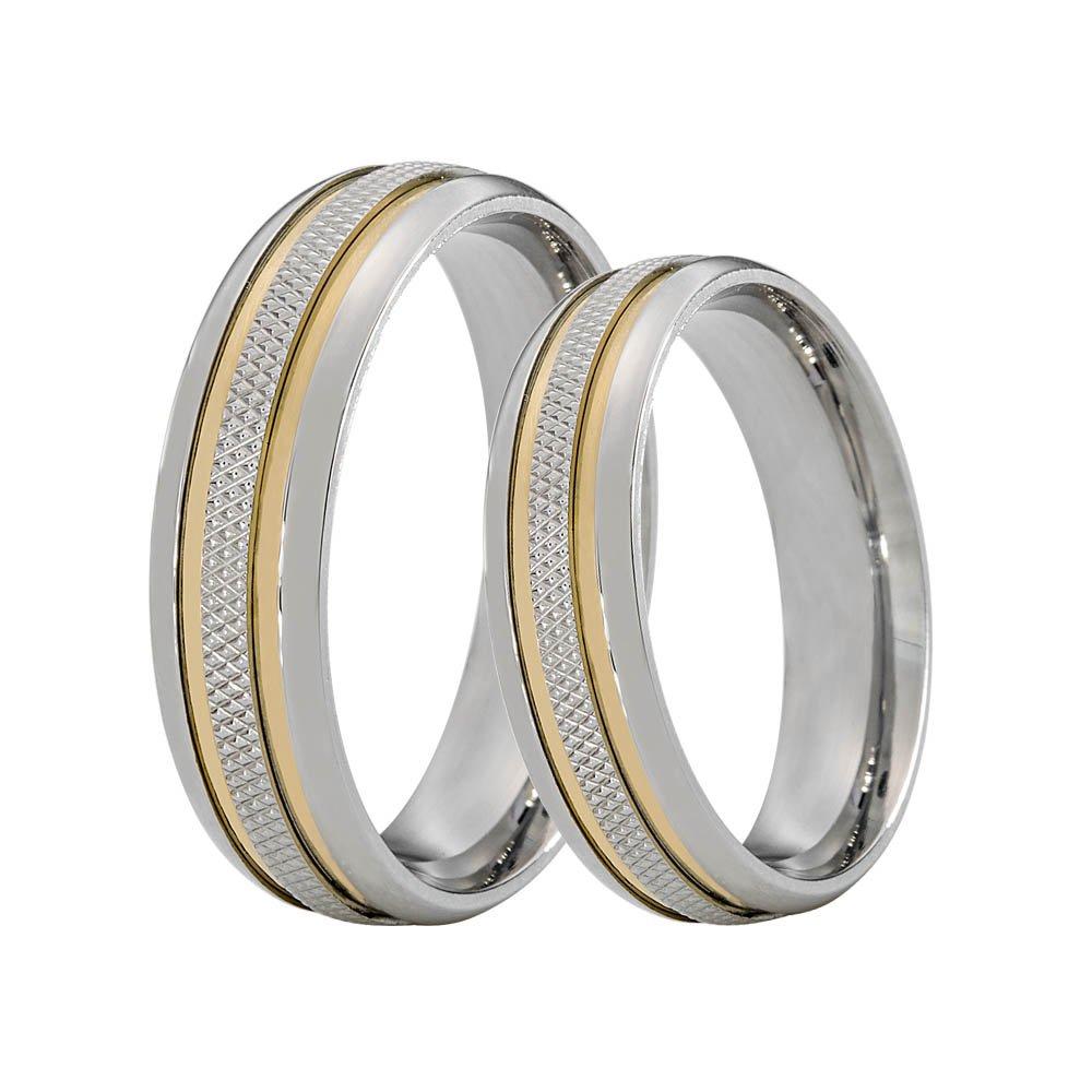 Alianças Compromisso de Aço Inox Recartilhada 2 Filetes de Ouro 6 mm  AX340