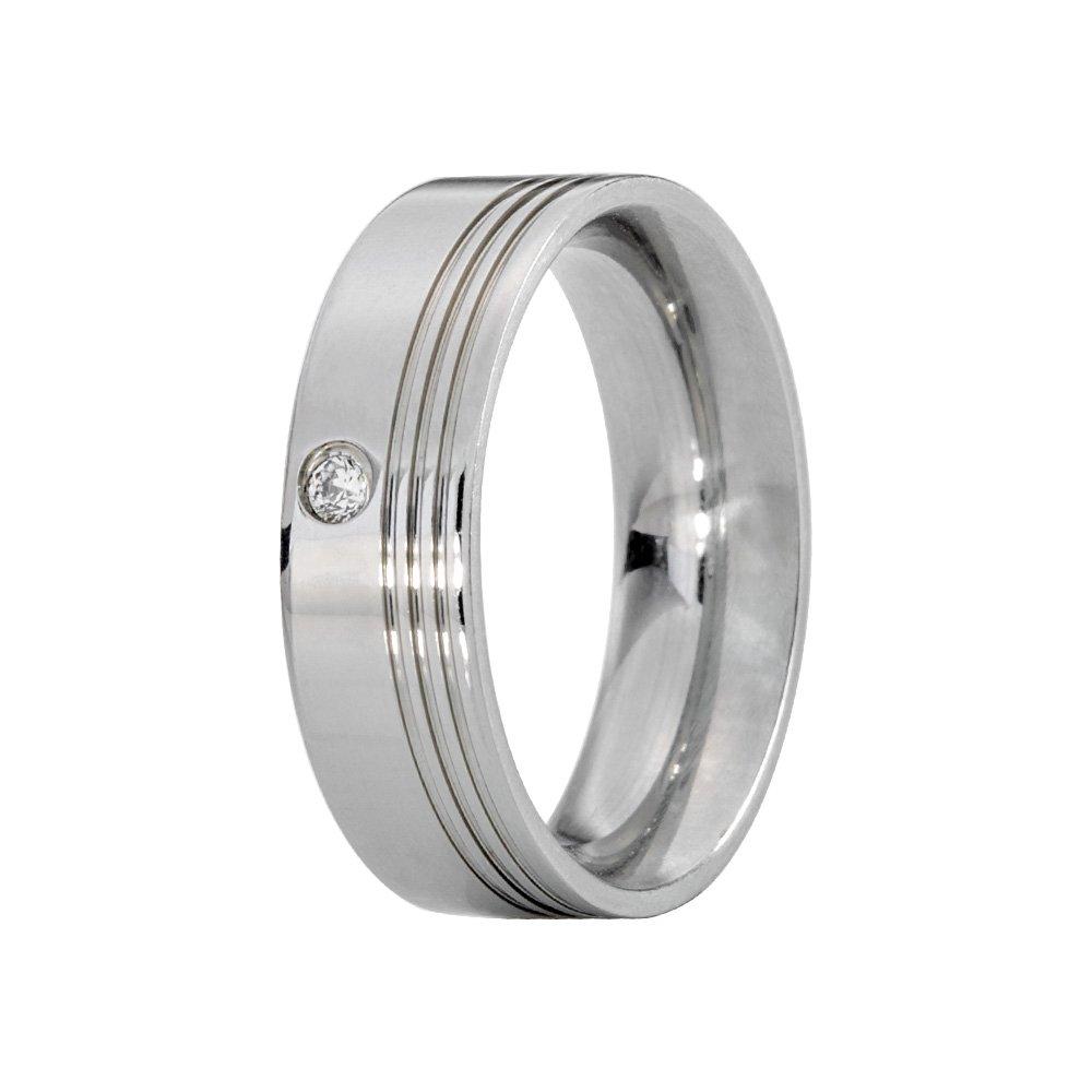 Alianças Compromisso de Aço Inox Reta 6 mm Com Frisos AX330