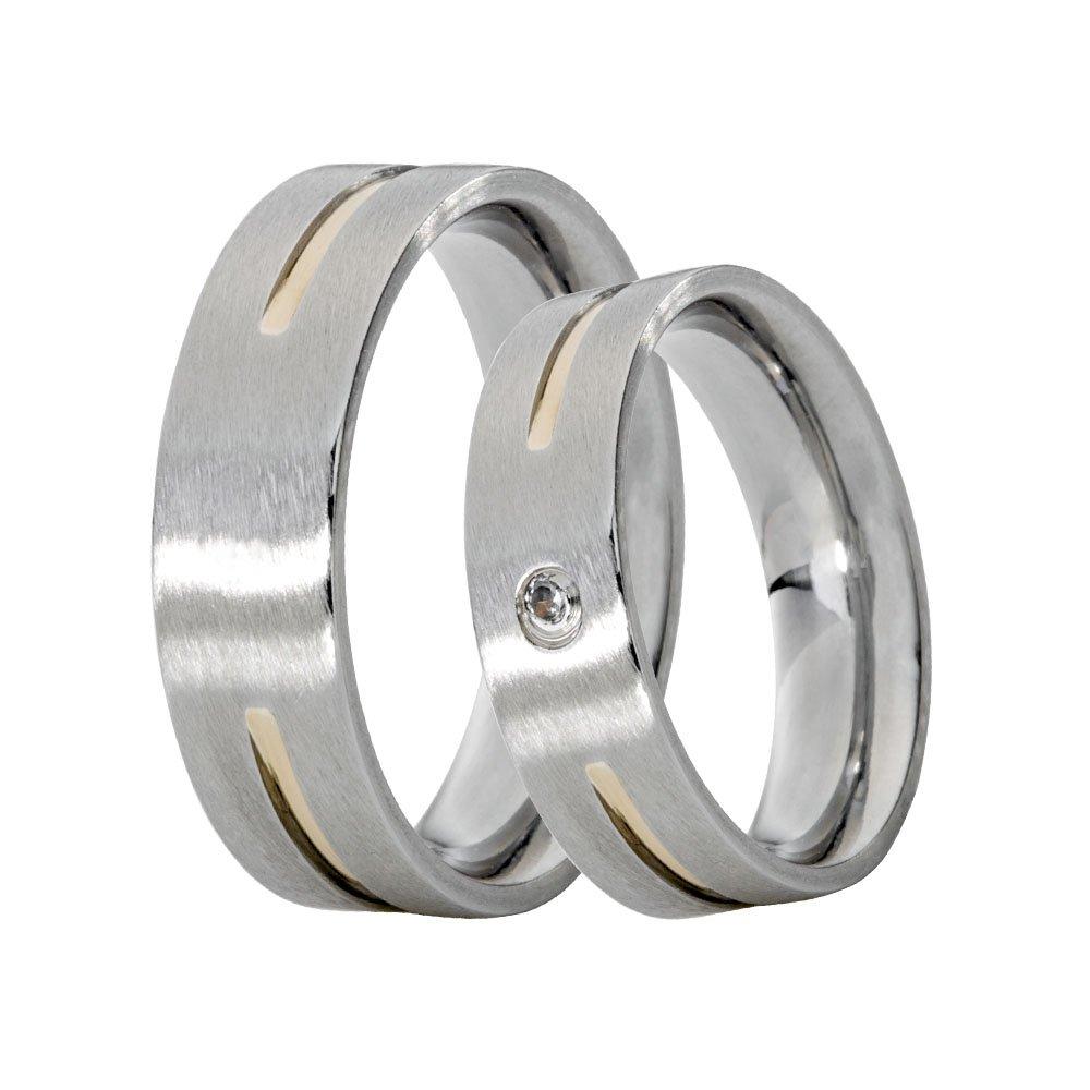 Alianças Compromisso de Aço Inox Reta 6 mm Filete Central de Ouro AX389-E