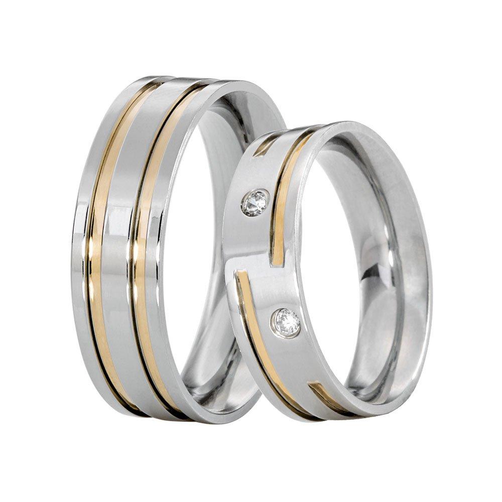 Alianças Compromisso de Aço Inox Reta 6 mm Filetes em Ouro e Pedras AX301