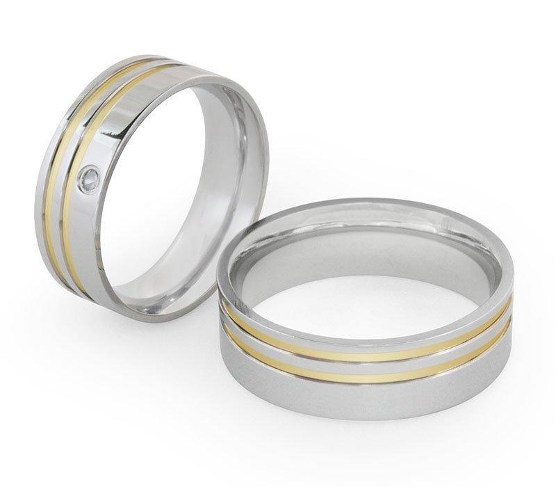 Alianças Compromisso de Aço Inox Reta 7 mm com 2 Filetes AX304