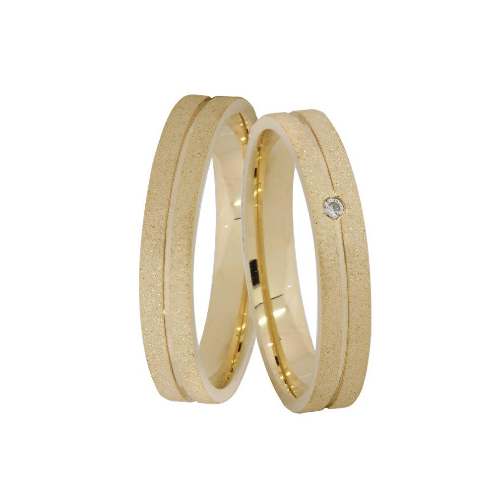 Alianças de Casamento em Ouro 18k Diamantada (3.5mm)