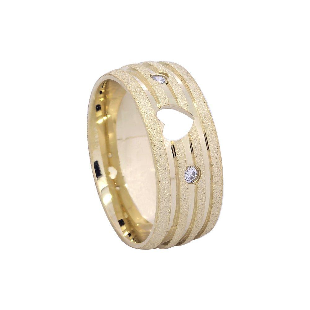 Alianças de Casamento Ouro 18k Diamantada com Frisos Polidos (5.5mm)
