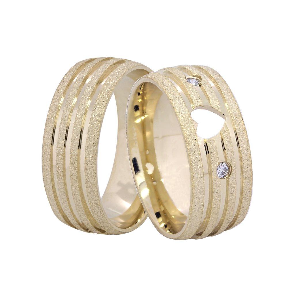 Alianças de Casamento Ouro 18k Diamantada com Frisos Polidos - Unitária (5.5mm)