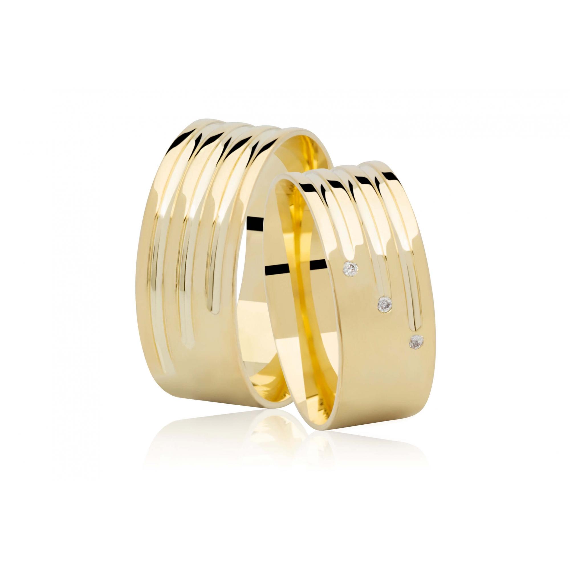 Alianças de Casamento Ouro 18k  Three Wires - Unitária (8mm)