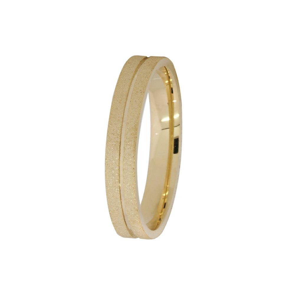 Alianças de Casamento Prata e Ouro Diamantada 3,5 mm - AB7086