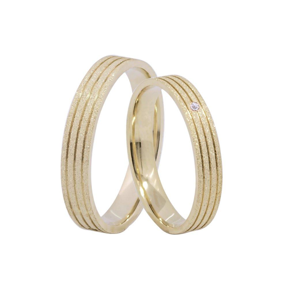 Alianças de Casamento Prata e Ouro Diamantada com Frisos 3,5 mm - AB7084