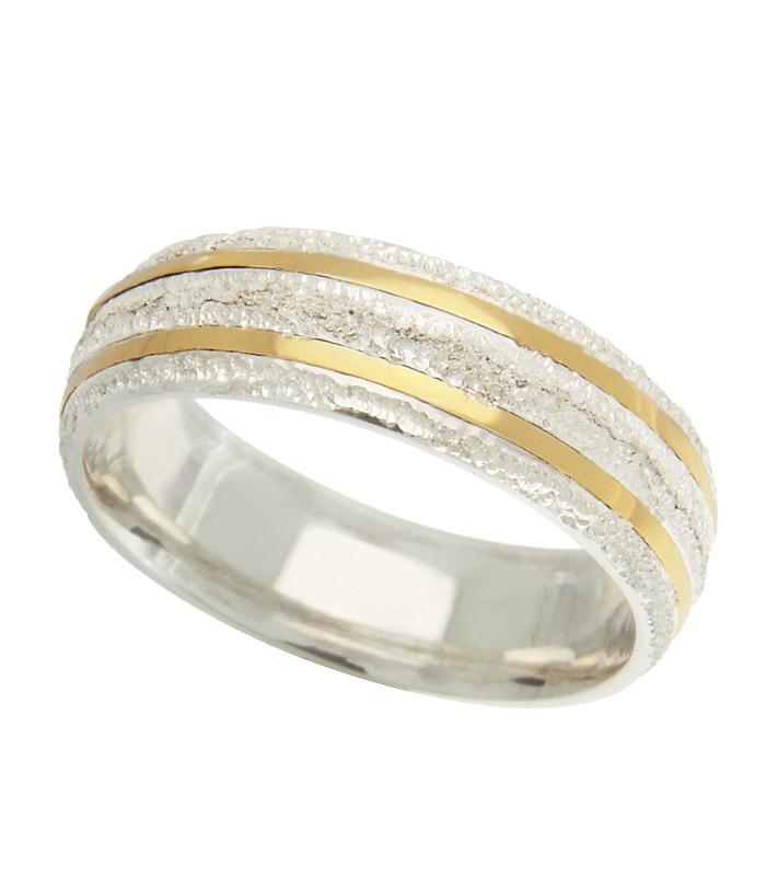 Alianças de Namoro Prata Abaulada Diamantada e Filetes de Ouro (6mm)