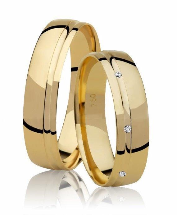 Alianças de Prata 950 Banhadas a Ouro 24k Casamento AB7040