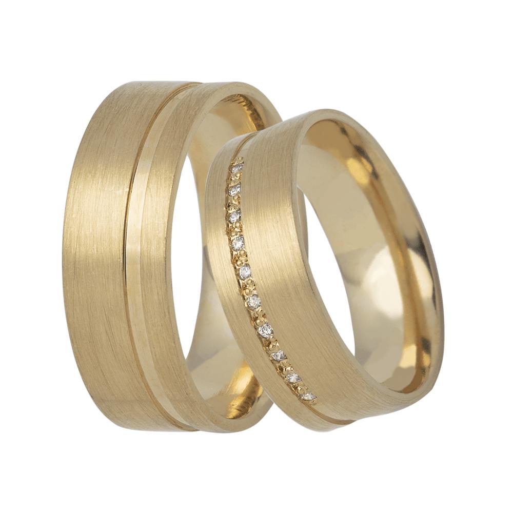Alianças de Prata 950 Banhadas a Ouro 24k Casamento Friso Lateral em Pedras AB7041